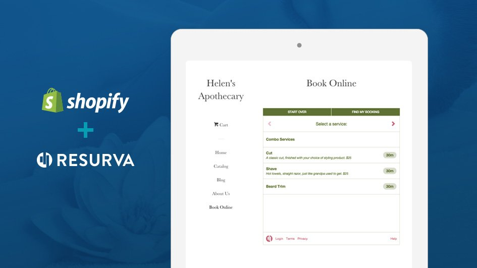 Resurva Appointment Widget embedded in a Shopify website