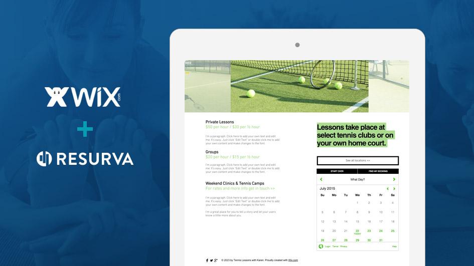 Resurva Appointment Widget embedded in a Wix website