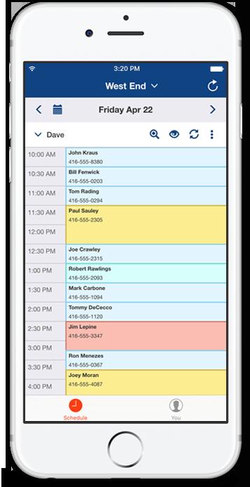 Resurva iOS app - Schedule view