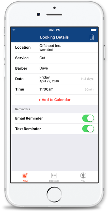 Resurva iOS app - Client booking view