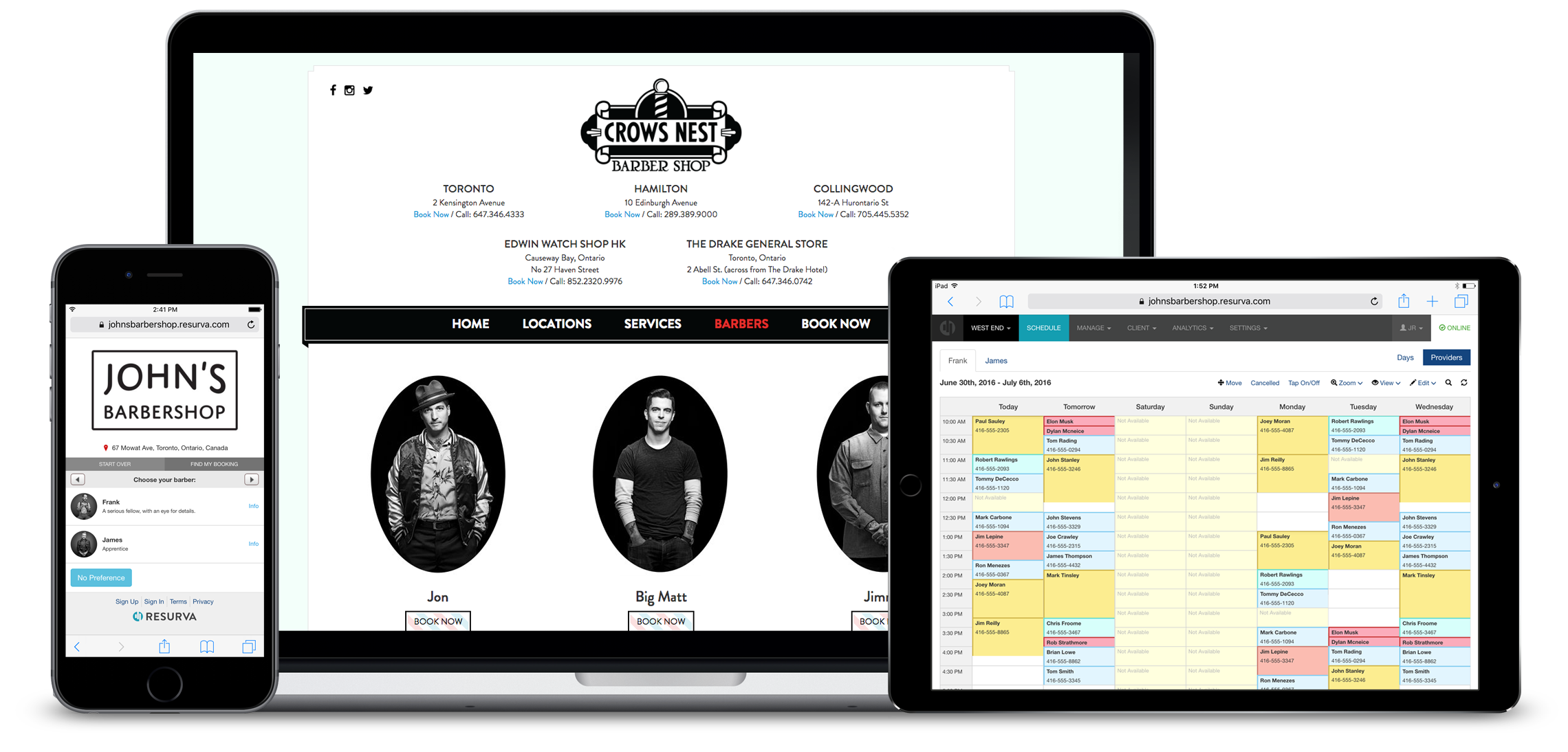 Client booking, websites by resurva, admin week view