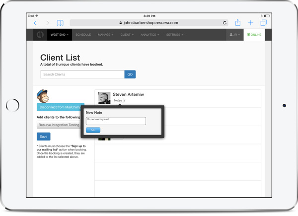 Resurva feature - Manage clients